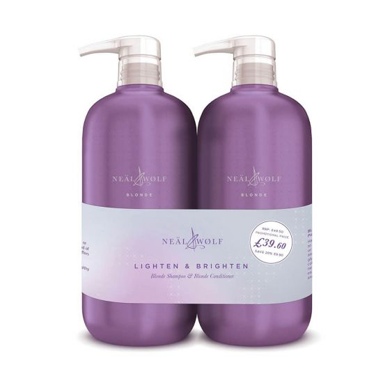 Neal & Wolf BLONDE Lighten & Brighten Purple Shampoo & Conditioner 950ml Duo